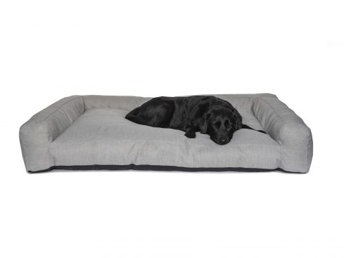 Light Grey Sofa Style Dog Bed with Black Labrador