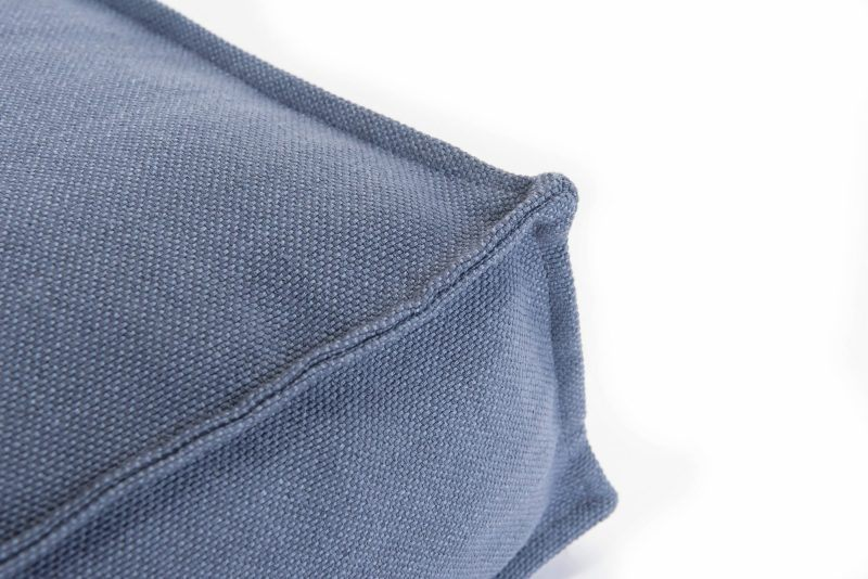 Close up of the seam of a blue cushion/mattress style dog bed
